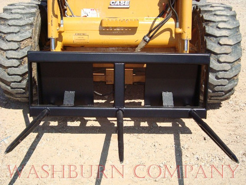 """Hay Bale Stacker Skidsteer 3 (48"""") Spears 4' Wide, 3 prong hay tine, hay spear, hay tine, hay spike, bale penetrator, Individual hay spears or hay spikes are rated at 3000 lbs. at 30"""" load center"""