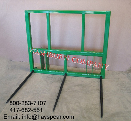 """john deere 148 158  bale spear, Individual hay spears or hay spikes are rated at 3000 lbs. at 30"""" load center  round bale spear, hay spear for sale, quick attach bale spear, round bale spear, hay spike, replacement bale spear, round bale spears,"""