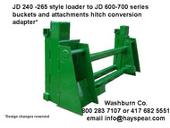 JD 240-268 Loader to JD 600-700 series Attachments Adapter
