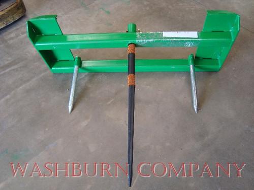 """Hay Bale Stacker John Deere 200-500 1 Spear, 48"""" Long, front loader bale spear, john deere 200x, 200cx, 300, 300cx, 300x, 400, 400x, 400cx, 410, 420, 430, 440, 460 loader bale spear   mc"""
