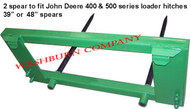 "Hay bale Stacker Fits John Deere 200-500, 2 Spear, 48"" Long, bale spear bushing, hay forks for jd, bale fork tines, bucket bail spear, 2 prong hay fork, 2 prong hay spear jd hay spear for john deere 200 200 200x, 200cx, 300, 300cx, 300x, 400, 400x, 400cx, 410, 420, 430, 440, 460  500 loader, mc"