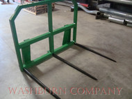 "John Deere 200-500 Hay Mover 3 Spear, 48"" Long w/ Rack. 3 prong hay tine, hay spear, hay tine, hay spike, bale penetrator, spears for sale, round hay bale carriers, square bale fork, john deere 200x, 200cx, 300, 300cx, 300x, 400, 400x, 400cx, 410, 420, 430, 440, 460  500 bale spear  mc"