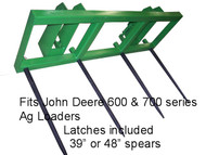 "Hay Mover Stacker John Deere 600-700 4 Spear, 48"" Long, hay spear for JD 620,625,640, 645,721,726,741,746, hay tine, hay spike, bale penetrator, spears for sale, round hay bale carriers, square bale fork, john deere 640 bale spear, fork attachment for tractor, john deere bale spear, round bale spear  mc"