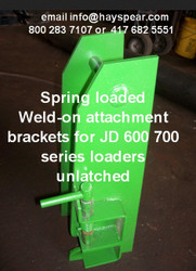 This is a pair of boxes to build or convert an existing attachment to fit JD farm or ag tractor front end loader in the 600 series style latch like 620, 625 640 645 etc as well as the 700 series style latch like 721, 726, 741, 746 for example.