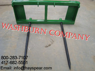 "Hay Bale Spear for John Deere 200-500, 2 Spear 48"" Long, hay bale spear Top pin fits John Deere JD quick attach 200x, 200cx, 300, 300cx, 300x, 400, 400x, 400cx, 410, 420, 430, 440, 460 series ag tractor loaders. Bottom pin set fits 500, 510, 520, 521, 540, 541, & 542 series ag loaders.  hay fork for tractor, bale spears for sale, bale spear kit, bale spears for loaders, bale fork, double bale spear, squared bale forks aw"