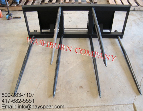 """6 Spear hay bale stacker for bobcat 6' Wide Frame 48"""" tine"""