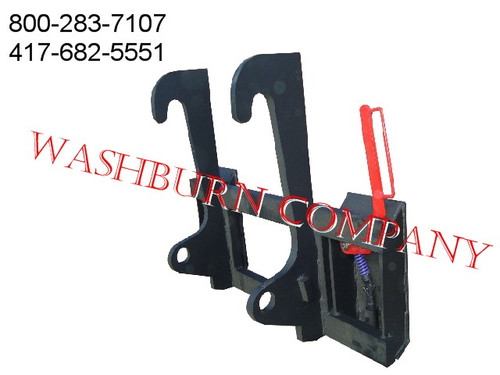 """Cat It 28 Loader To Bobcat Skid Steer Attachments Adapter  Heavy duty construction throughout. Two crossbar design keeps the face of thee latch boxes in line and keeps them from twisting and going out of alignment. Latch box sides are 1/2"""" thick and are made from grade 50 plate for added strength. The latching pins are designed so that when the latches are closed the springs are bottomed out so that the pins cannot come unlatched. Bushing for pins Grease Zerk in both latching pin tubes Couples the two different Quick hitches as close as is physically possible for maintaining maximum lifting capacity. Quick attach adapters are also available for tractor loaders with pin on buckets to convert them to quick attach."""