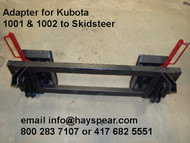 """Kubota 1001 1002 Loader to Skid Steer Bobcat Quick Hitch Adapter Heavy duty construction throughout. Two crossbar design keeps the face of thee latch boxes in line and keeps them from twisting and going out of alignment. Latch box sides are 1/2"""" thick and are made from grade 50 plate for added strength. The latching pins are designed so that when the latches are closed the springs are bottomed out so that the pins cannot come unlatched. Bushing for pins Grease Zerk in both latching pin tubes Couples the two different Quick hitches as close as is physically possible for maintaining maximum lifting capacity. Quick attach adapters are also available for tractor loaders with pin on buckets to convert them to quick attach."""