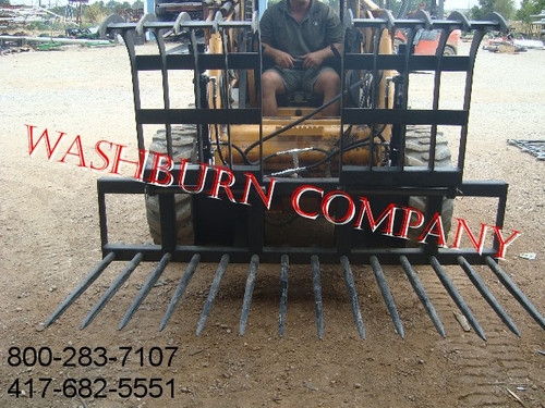 7' Wide 14 Spear Twin Grapple  Attachment fits Skid Steer