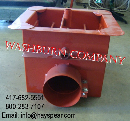 """Front view if center sump has center pipe for sweep auger Clamps over end of 8"""" od tube"""