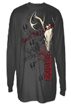 Primos Deer Skull Long Sleeve T Shirt Charcoal Large