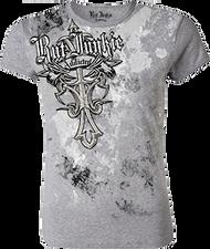 Womens Rutt Junkie Addicted Cross S/S Shirt Silver Large