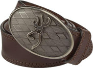 Men's Browning 34 Inch Oval Buckmark Buckle with Brown Leather Belt