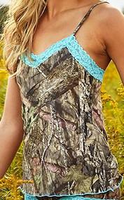 Weber Camo Camisole Aqua Lace Trim Mossy Oak Country Camo Medium