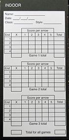 Vivid Impact Indoor Archery Score Cards - 100 Pieces