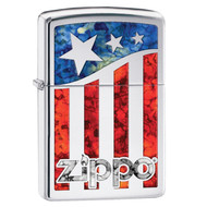 Zippo American Flag Pocket Lighter w/High Polish Chrome29095