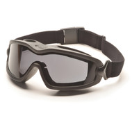 Pyramex V2G-Plus Goggles Black Strap/Gray Dual AF Lens