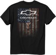 Chevy Skulls & Stripes T-Shirt Black Large
