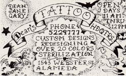 Dean's Tattoo Headquarters Original Business Card