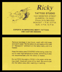 Original Ricky Tattoo Studio Business Card