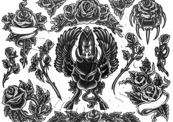 Sheet #1 features 13 Black & White rose designs.  11 x 15
