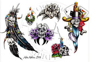 Skull designs by this Indiana tattooist. Color  (includes line drawings) 11 x 17
