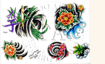 Flower designs by this Indiana tattooist.  Color (includes line drawings) 11 x 17