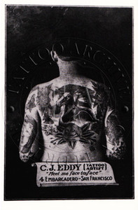 """AKA """"Pop Eddy""""who tattooed in San Francisco, CA for many years, this black & white promo card is from his #4 Embarcadero shop. c 1940s. 3 x 5"""
