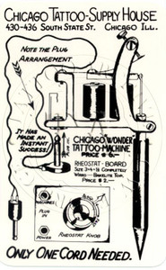 Black & White machine ad promoting the Chicago, Wonder. One of the first production machines using a phone plug instead of a clip cord, c 1940s. 3 x 5