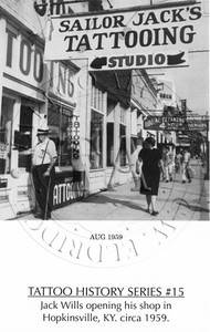 Black & White card showing Wills opening his shop in Hopkinsville, KY. c1959. 4 x 5