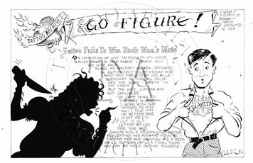 Illustration by Cheela Smith of a 1940s news article of tattoo love gone bad. 3 x 5