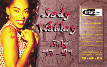 Color postcard of Watley showing her tattoo. 4 x 6