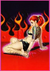 Flaming Pin Up Postcard