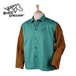 Large Green Fabric Coat with Leather Sleeves