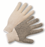 Cotton Knit Glove with PVC Dots on Palm & Fingers 1dz
