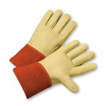 "Medium Full Grain Leather Calf  Mig Glove W/4"" Leather Cuff 1dz"