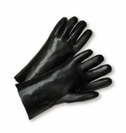 "14"" Black Single Dipped PVC Cotton String Glove w/Gauntlet Cuff 1dz"