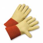 "Large Full Grain Leather Calf  Mig Glove W/4"" Leather Cuff 1dz"