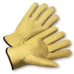 Medium Full Grain Leather Pig Driver's Glove w/Keystone Thumb 1dz