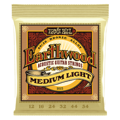 Ernie Ball Earthwood Medium Light 80/20 Bronze Acoustic Guitar String, 12-54 Gauge