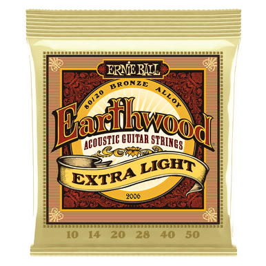 Ernie Ball Earthwood Extra Light 80/20 Bronze Acoustic Guitar Strings, 10-50 Gauge