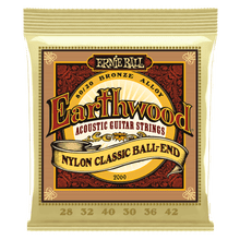 Ernie Ball Earthwood 80/20 Bronze Folk Nylon Classic Ball End Acoustic Guitar Strings, 28-42 Gauge