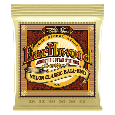 Ernie Ball Earthwood 80/20 Bronze Folk Nylon Classic Ball End Acoustic Guitar Strings, 28-42 Gauge