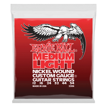 Ernie Ball Medium Light Nickel Wound with wound G Electric Guitar Strings, 12-54 Gauge