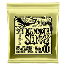 Ernie Ball Mammoth Slinky Nickel Wound Electric Guitar Strings, 12-62 Gauge