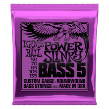Ernie Ball Power Slinky 5-String Nickel Wound Electric Bass Strings 50-135 Gauge