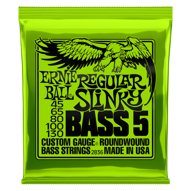 Ernie Ball Regular Slinky 5-String Nickel Wound Electric Bass Strings, 45-130 Gauge