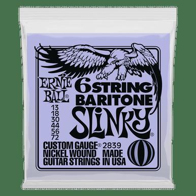 Ernie Ball Slinky W/ Small Ball End 29 5/8 Scale Baritone Guitar 6-String 13-72 Gauge