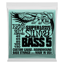 Ernie Ball Bass 5 Slinky Super Long Scale Electric Bass Strings, 45-130 Gauge