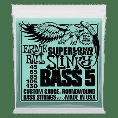 Ernie Ball Bass 5 Slinky Super Long Scale Electric Bass Strings, 45-130 Gauge